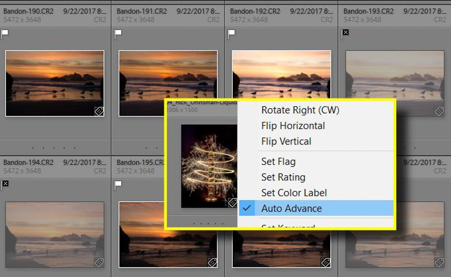 Flagging images as Picks or Rejects in Lightroom and using Auto Advance to move through them.