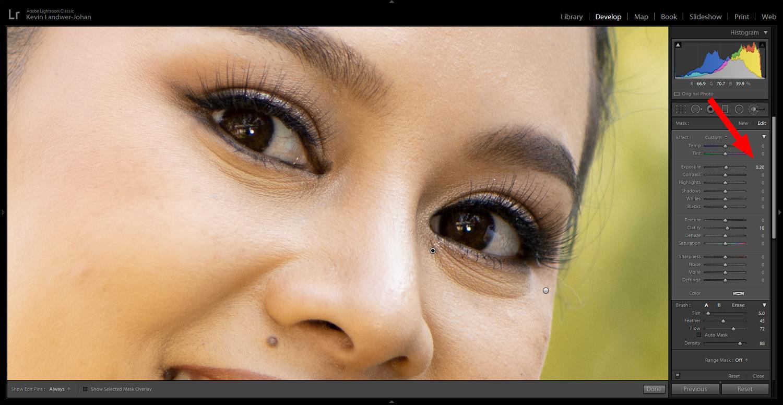 Adjustment brush close up example