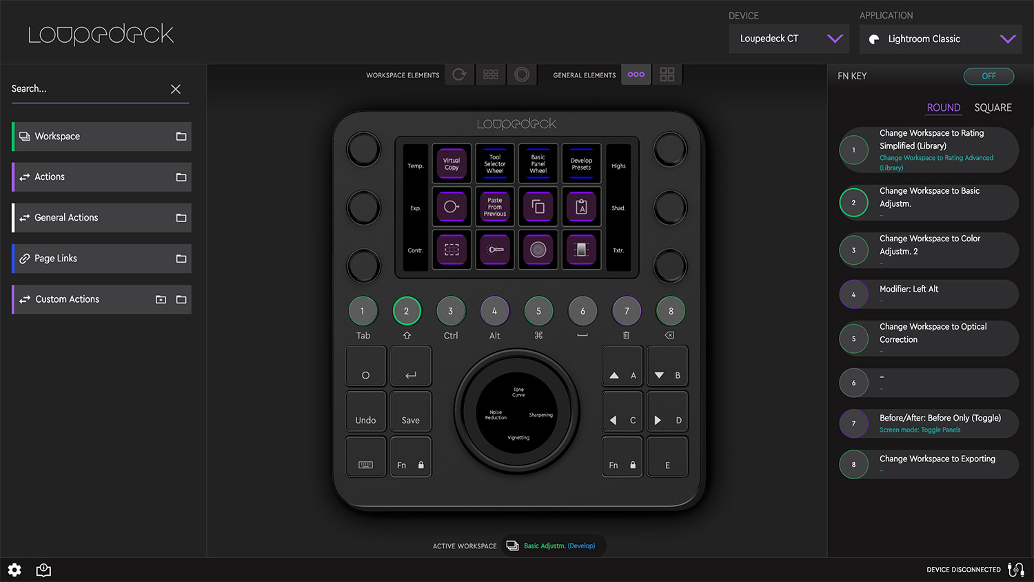 The step Screen for the Loupdeck CT showing Lightroom Classic Settings