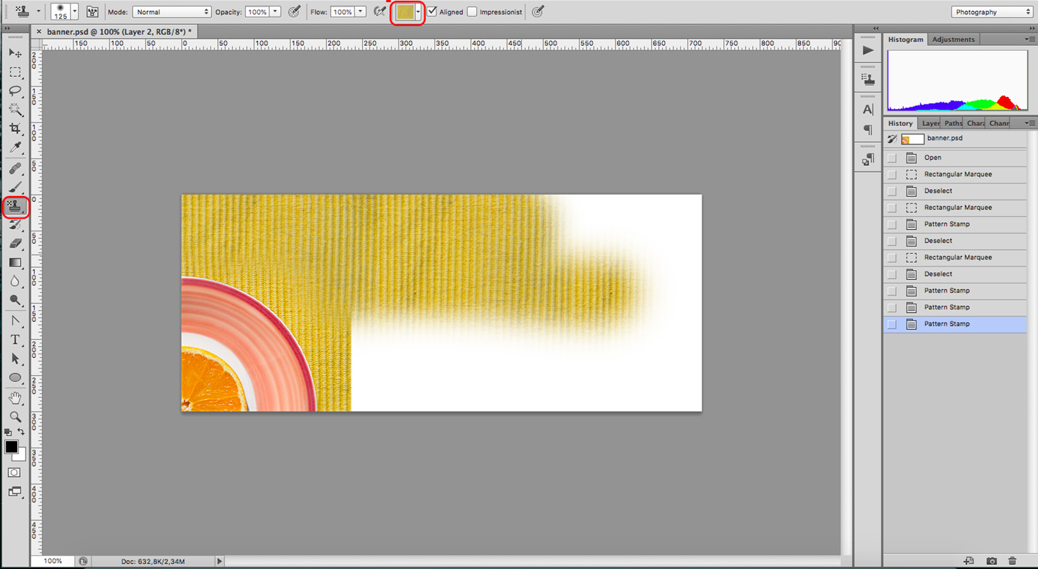 Pattern Stamp is another Photoshop tool to edit backgrounds