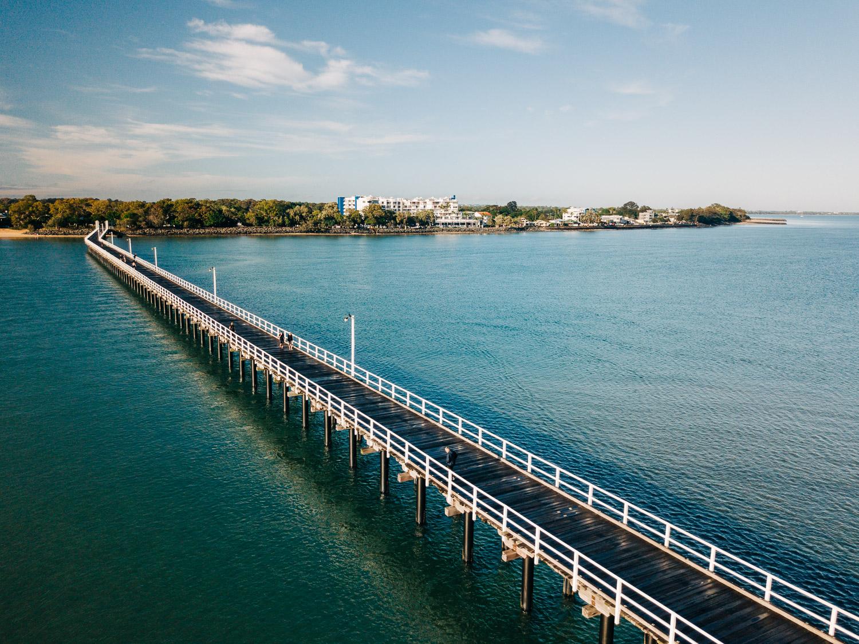 Linhas principais em ação: Urangan Pier em Hervey Bay, em Queensland.