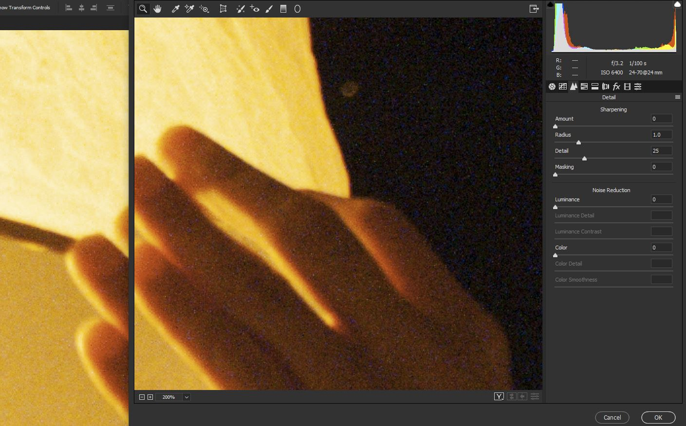 Managing Digital noise in Photoshop