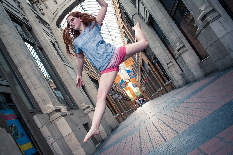 jumping person choosing a focus mode