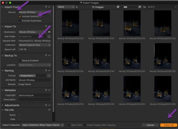 organizing photos in capture one