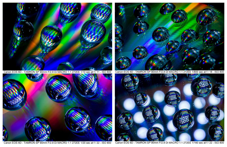 Truques fotográficos: gotas de água em um CD