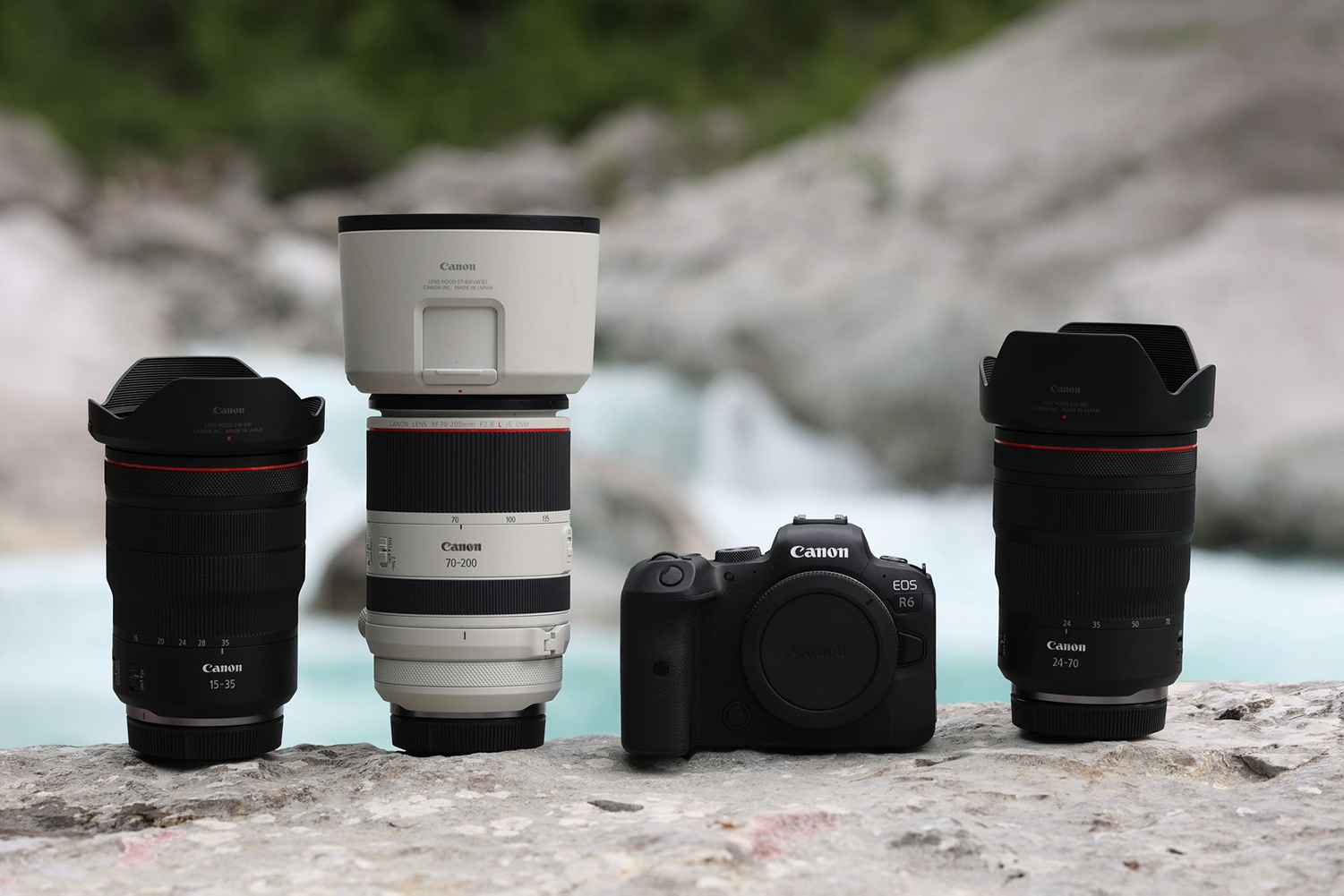 A Canon mirrorless setup with the R6 camera