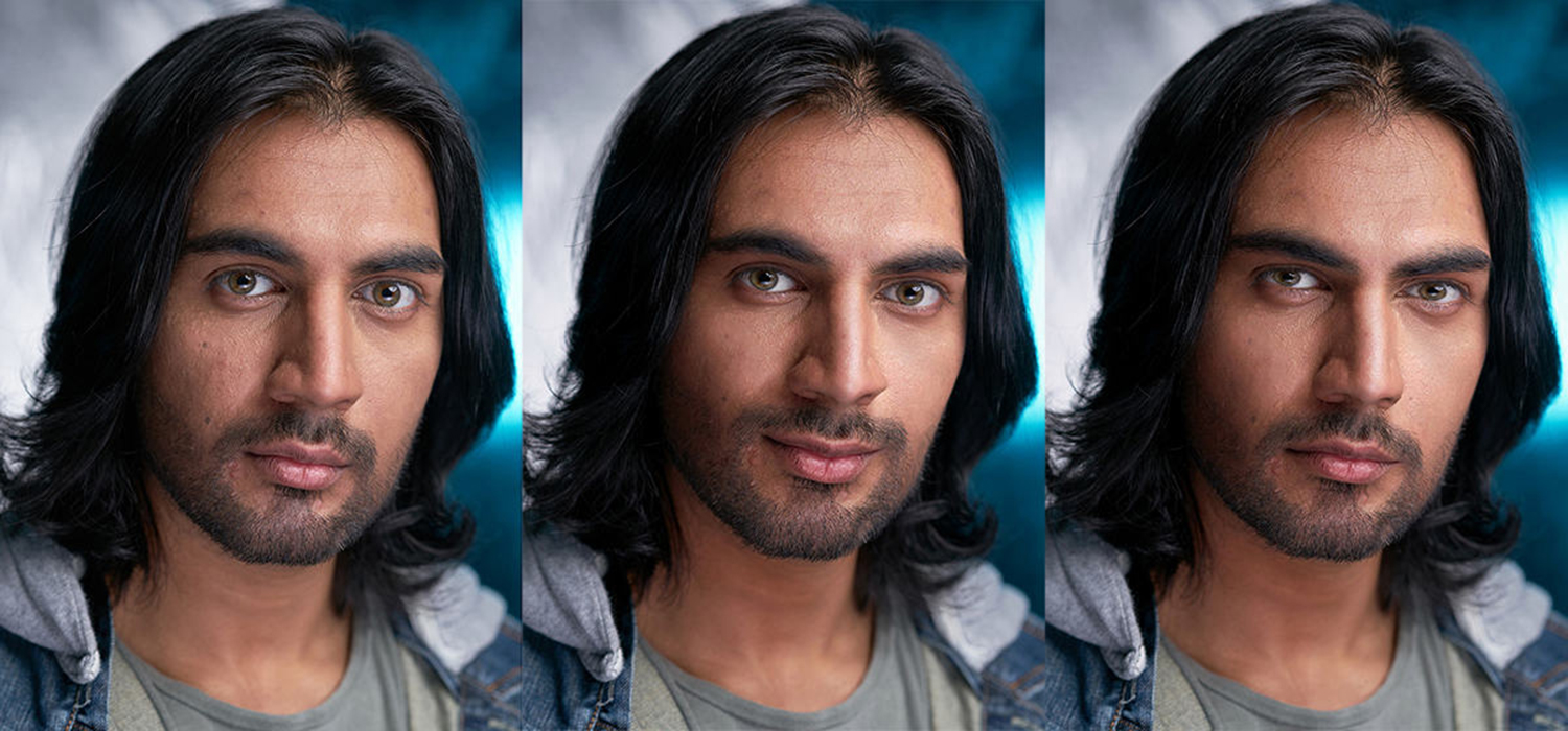 a photo retouched to show different facial expressions