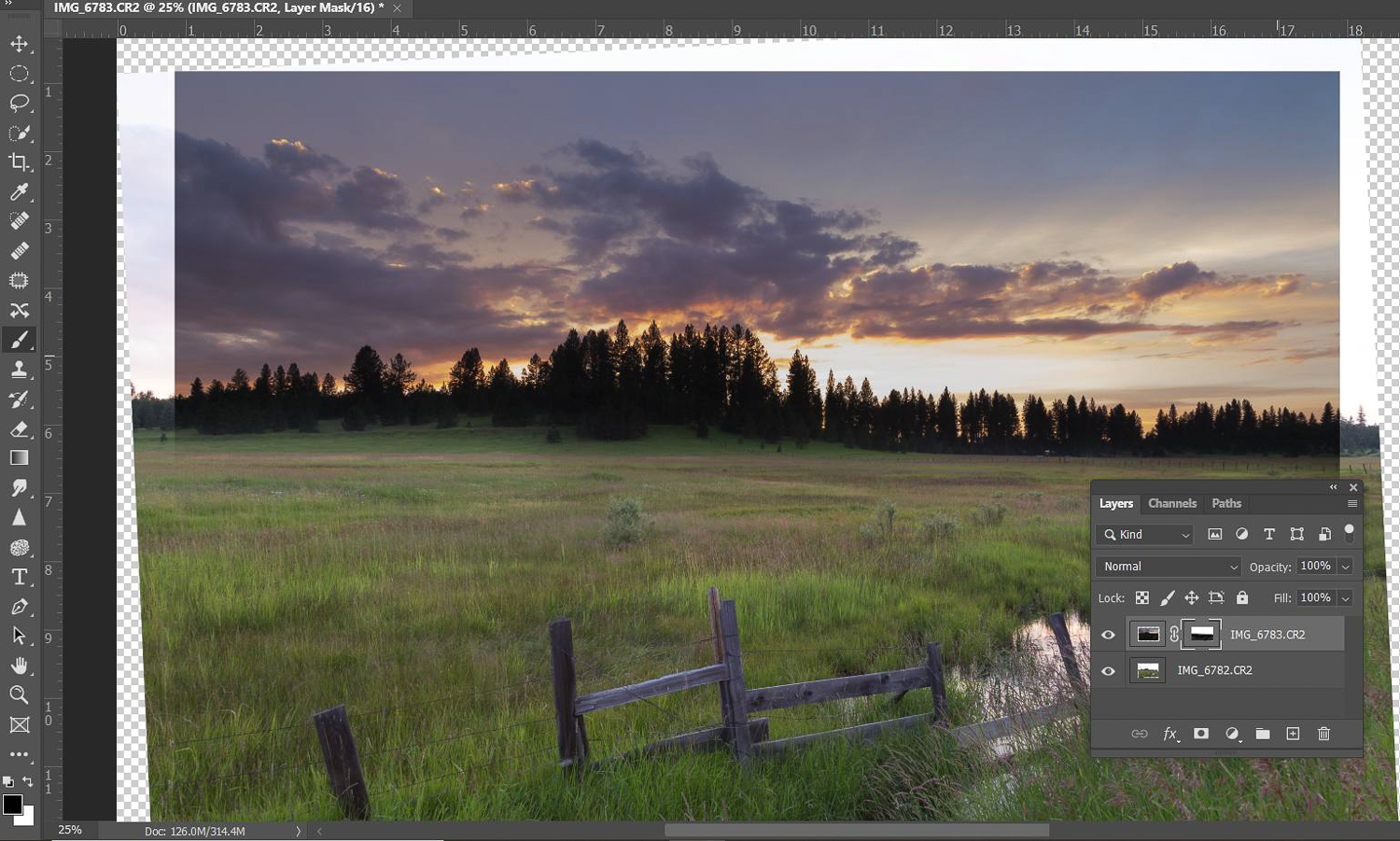 Tips for dramatic skies - Exposure Blending with two exposures in Photoshop