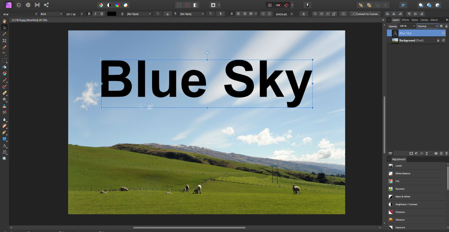affinity photo sample with text and blend modes