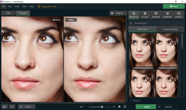 Using PhotoDiva's skin retouching tool