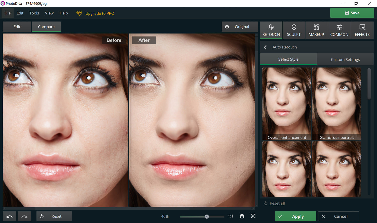 Using PhotoDiva's skin retouching tool