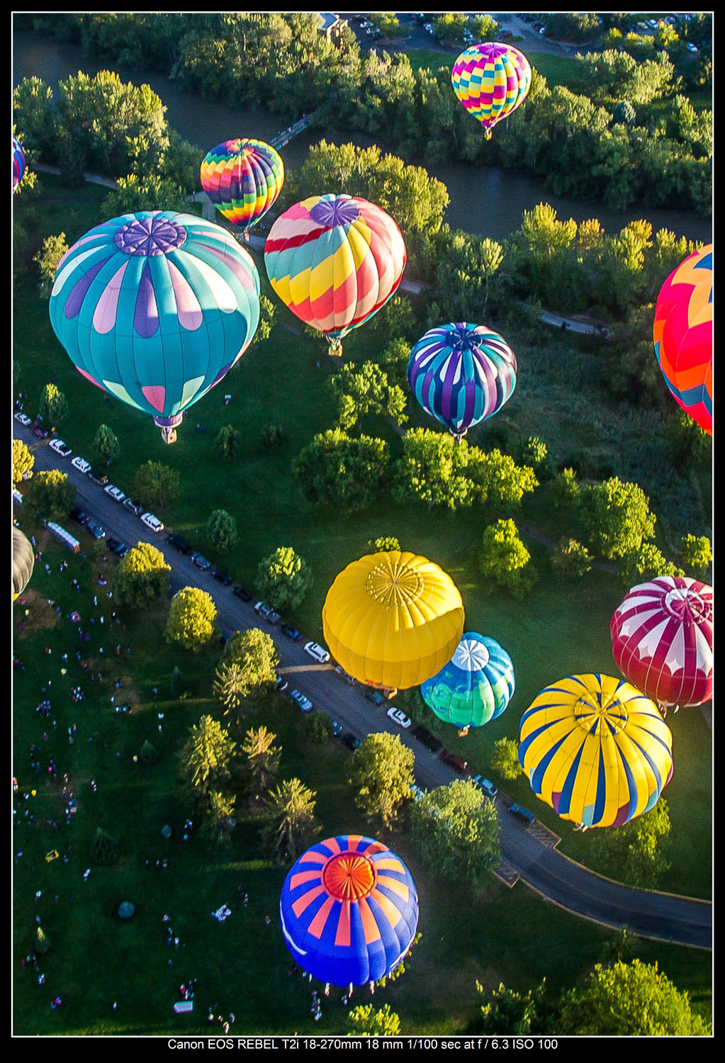Hot air balloons lift off from Ann Morrison Park in Boise, Idaho.
