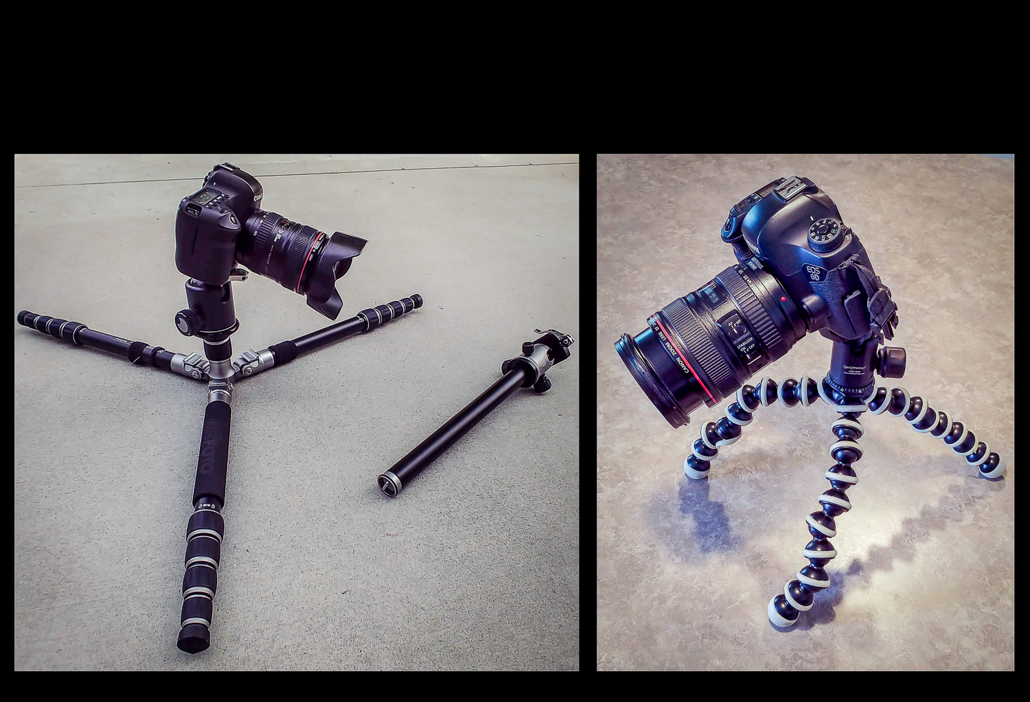 Different ways to shoot low-angle photos and still use a tripod.