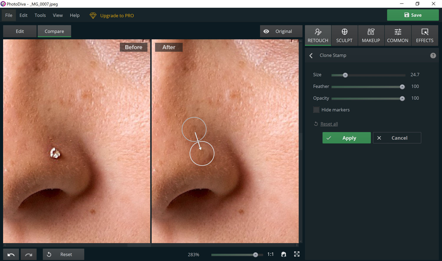 using the clone tool in PhotoDiva to remove a nose stud