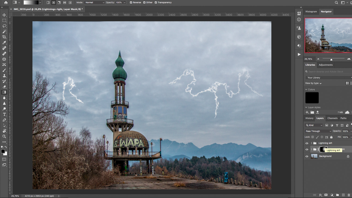 create a thunderstorm in Photoshop