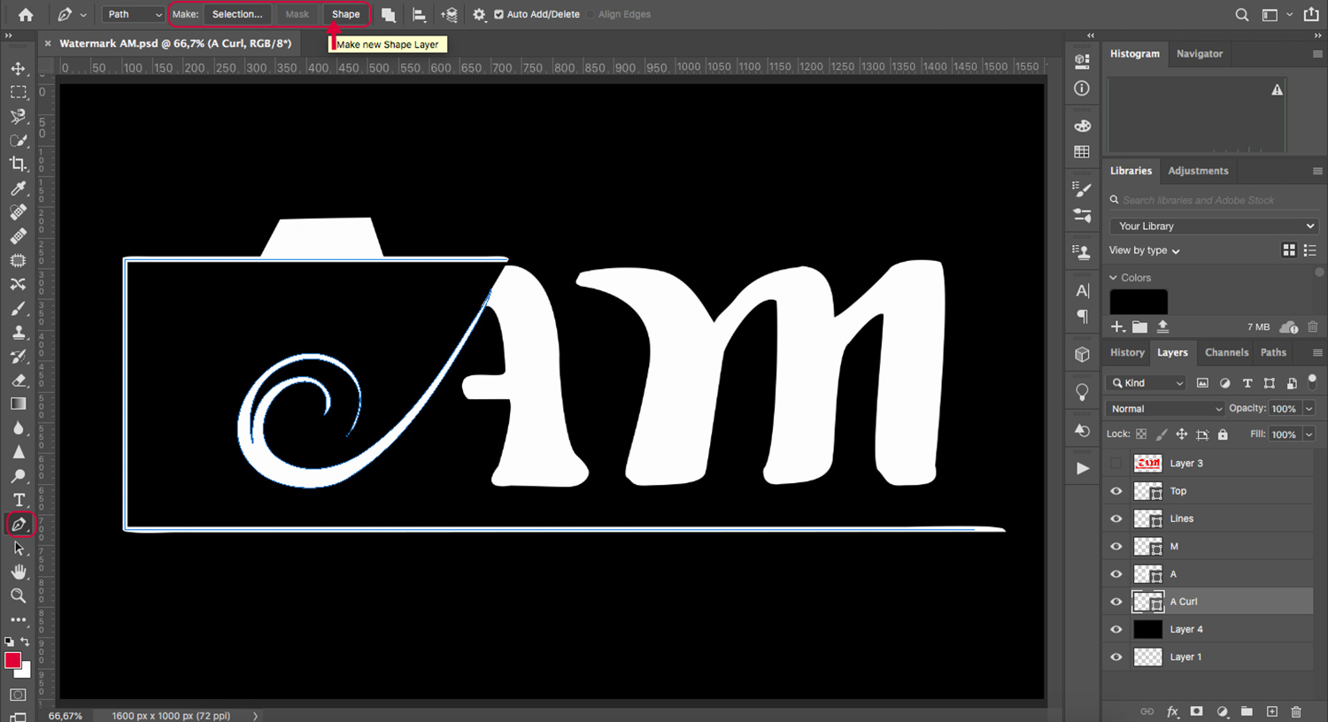 how to create a watermark with the Pen tool in Photoshop select make shape