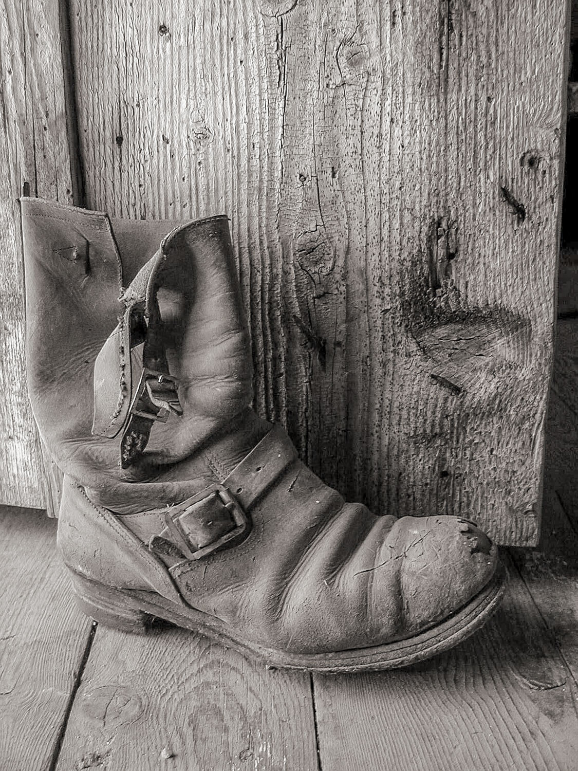 black and white boot in sepia