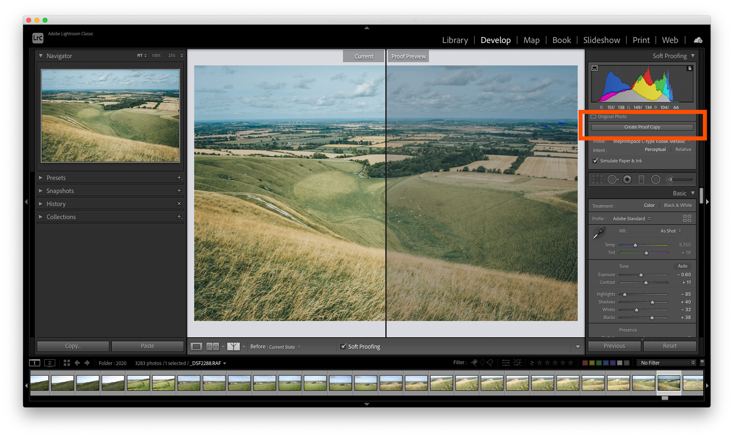 Soft Proofing in Lightroom proof preview
