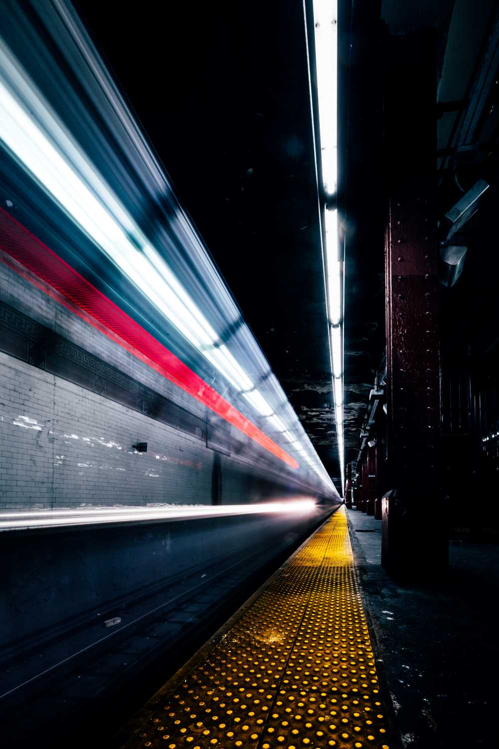 subway moving fast light trails