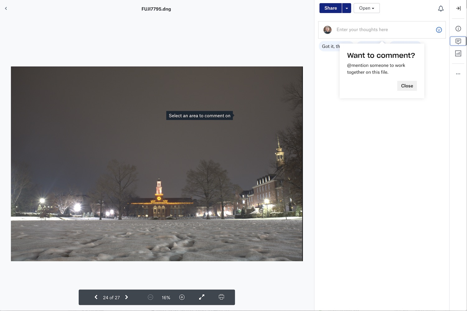 Dropbox commenting