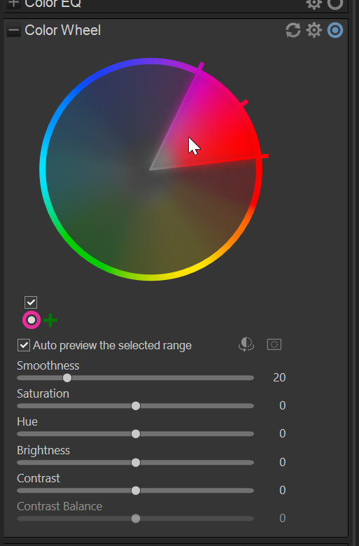 selecting a color on the color wheel