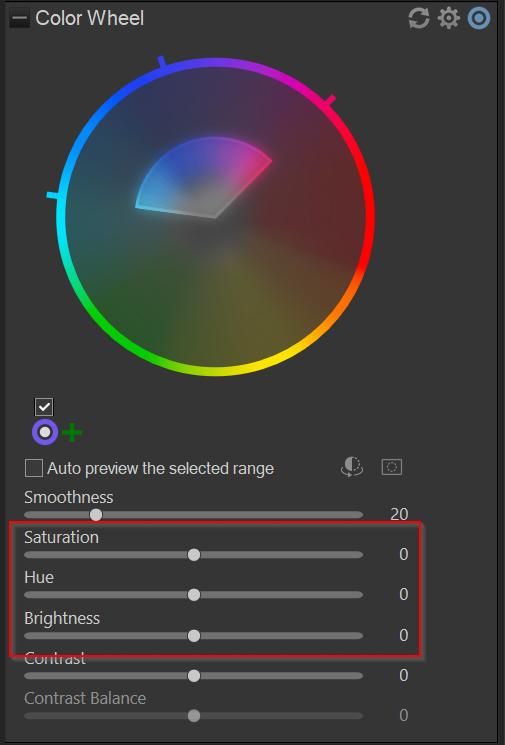 hue, saturation, and brightness sliders in ACDSee Photo Studio Ultimate 2021