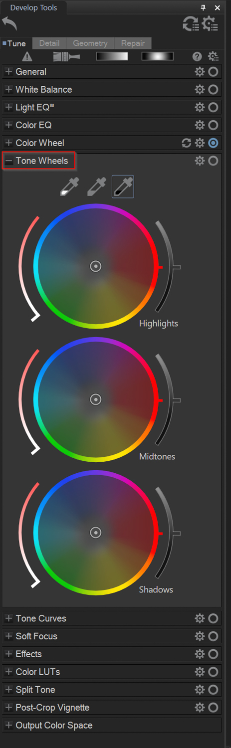 using the tone wheels in ACDSee Photo Studio Ultimate 2021
