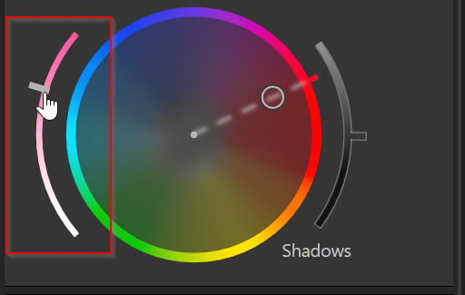 using the saturation slider