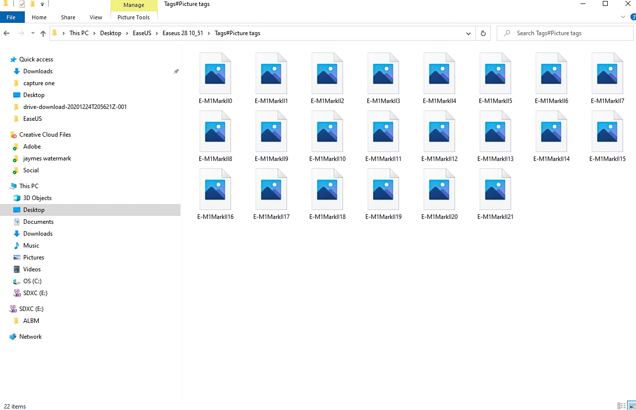 the actual recovered files