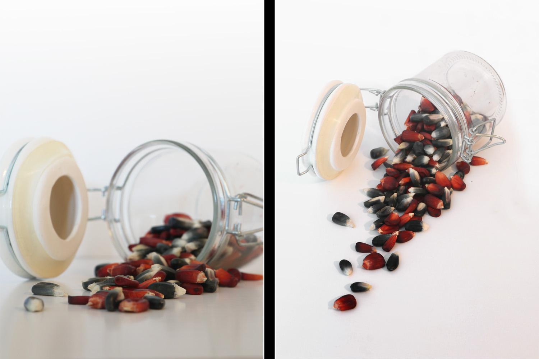 idéias de fotografia de comida dois ângulos diferentes de um frasco com sementes