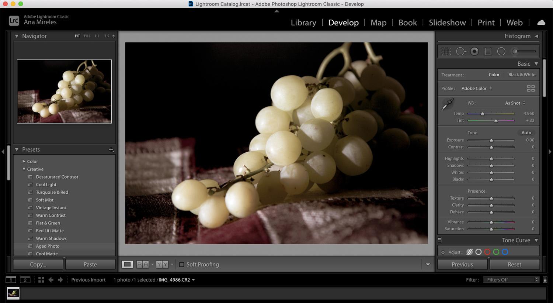 Ideias para Fotografia de Alimentos com Uvas no Lightroom