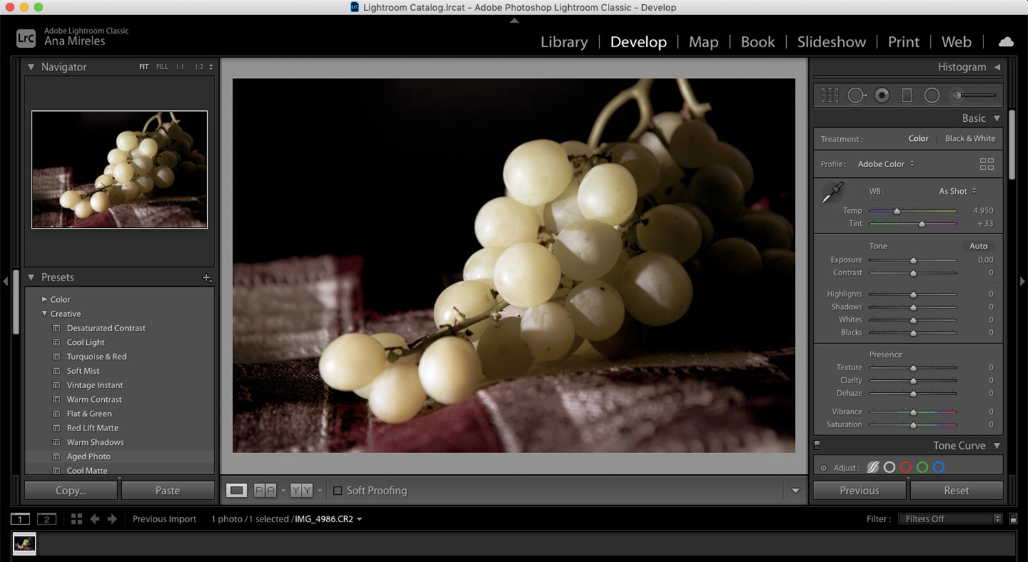 food photography ideas grapes in Lightroom
