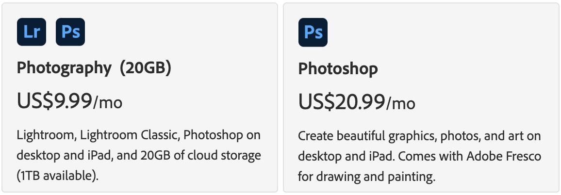 Affinity Photo vs Photoshop Pricing