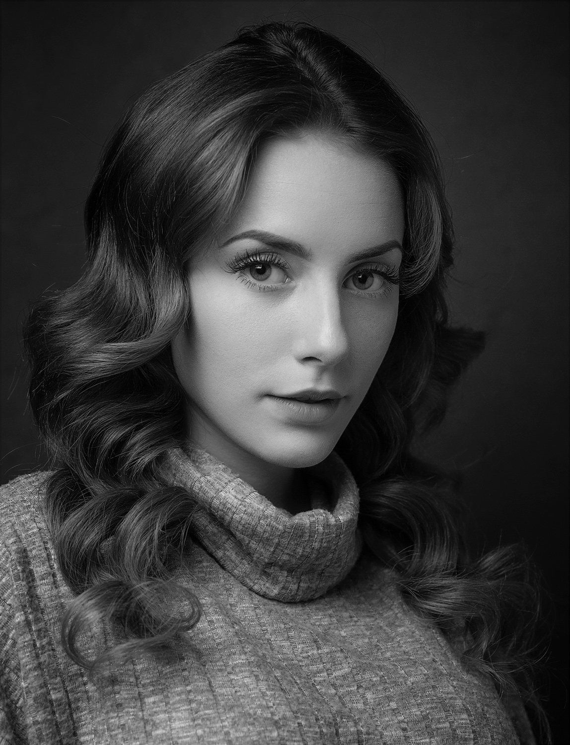 black and white headshot of a woman