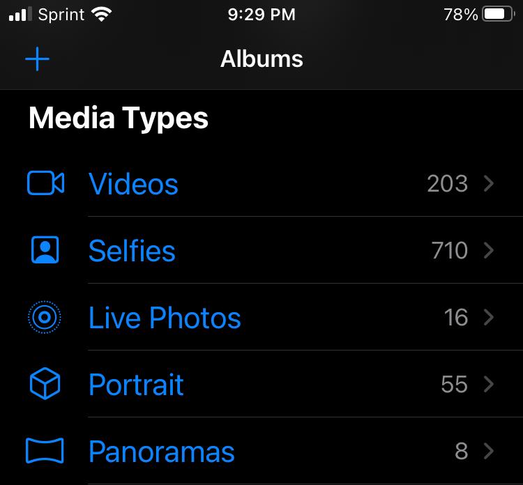 iPhone Live Photos albums