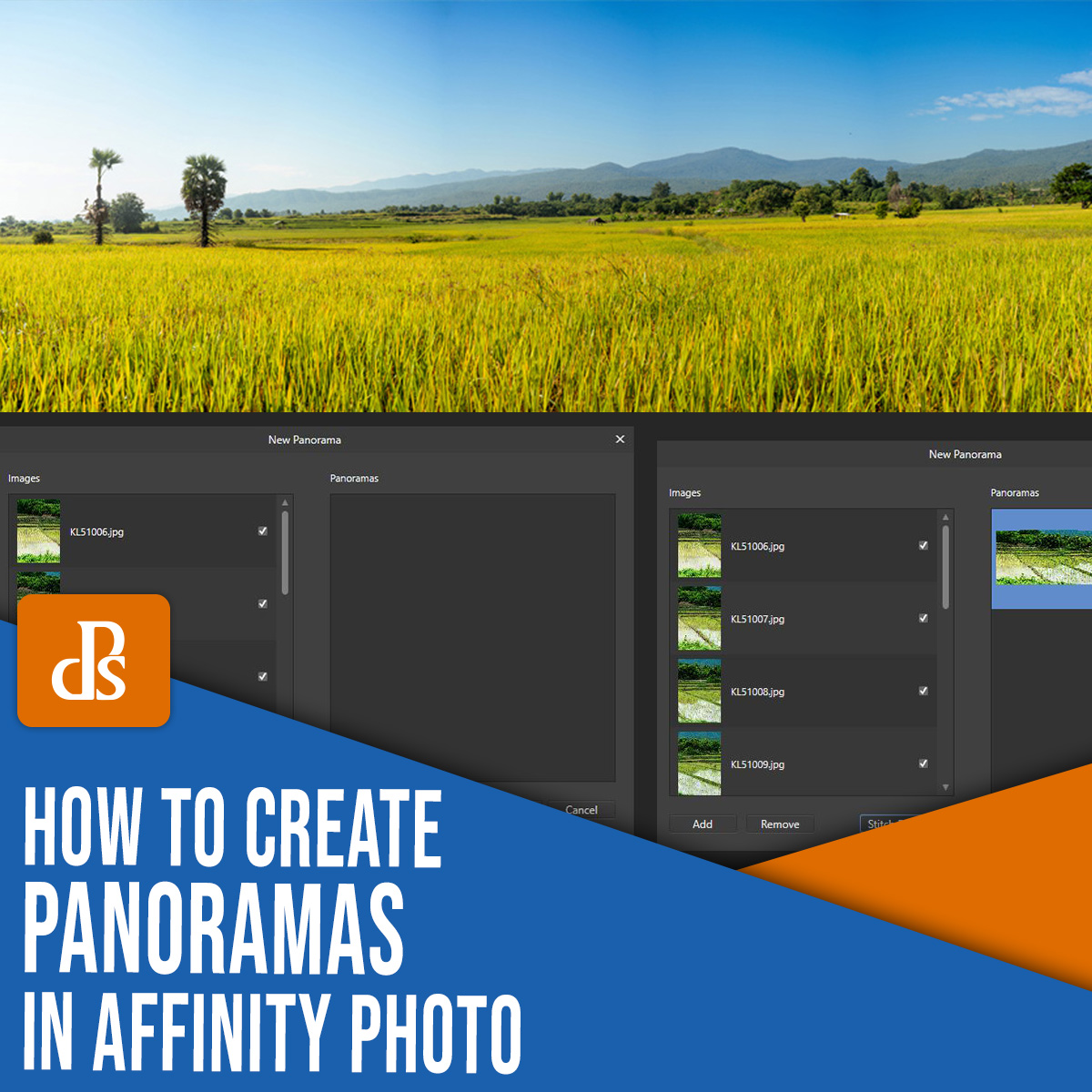 how to create panoramas in Affinity Photo