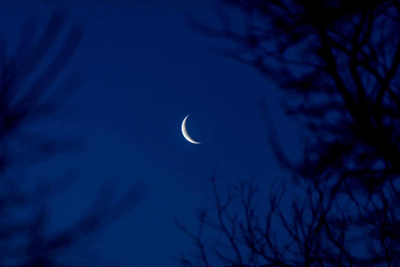 Crescent moon processed RAW