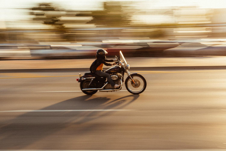 panorâmico com motocicleta