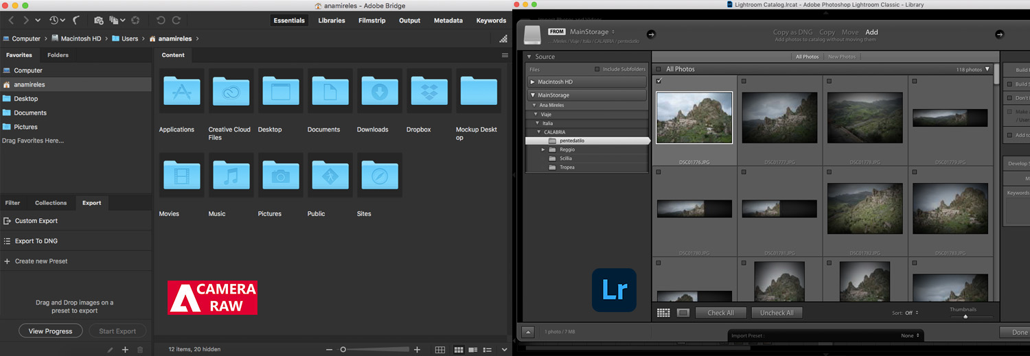 the organization options in Lightroom and Camera Raw