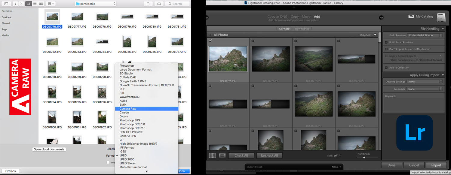 the Camera Raw and the Lightroom interface