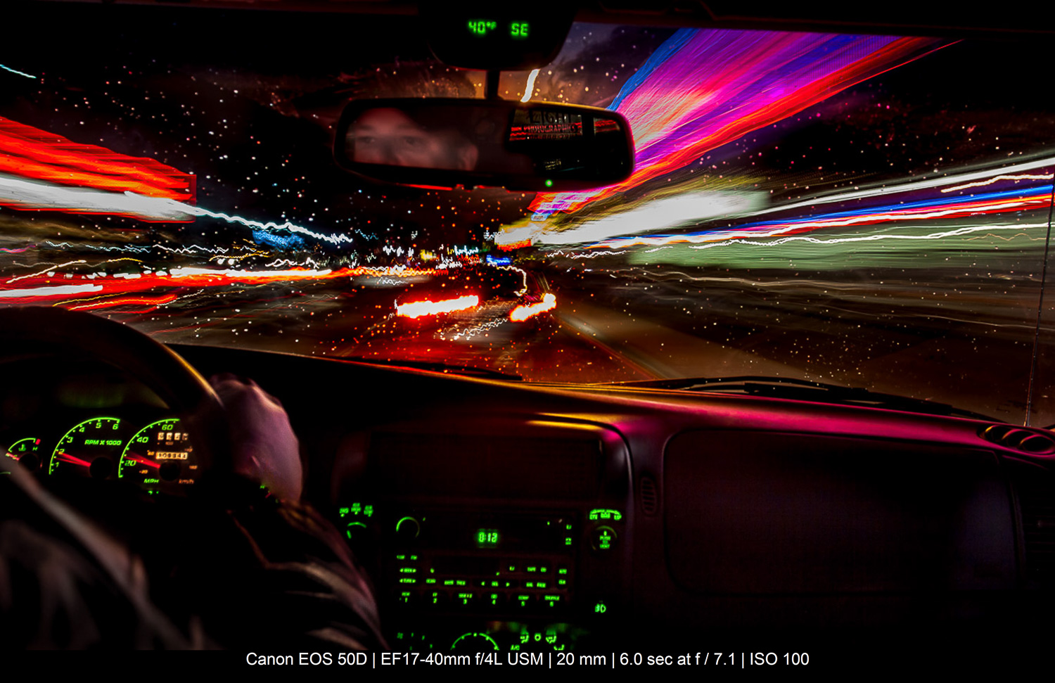 experimental long exposure in the back of a car