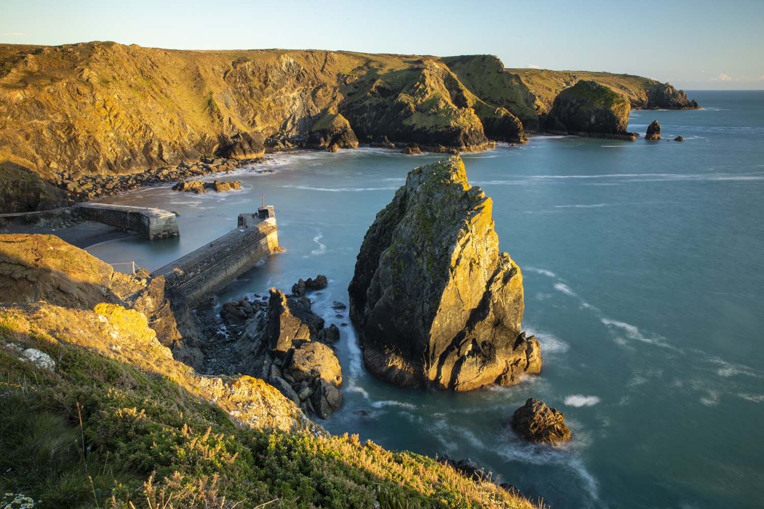 seaside cliffs and rocks in summer landscape photography