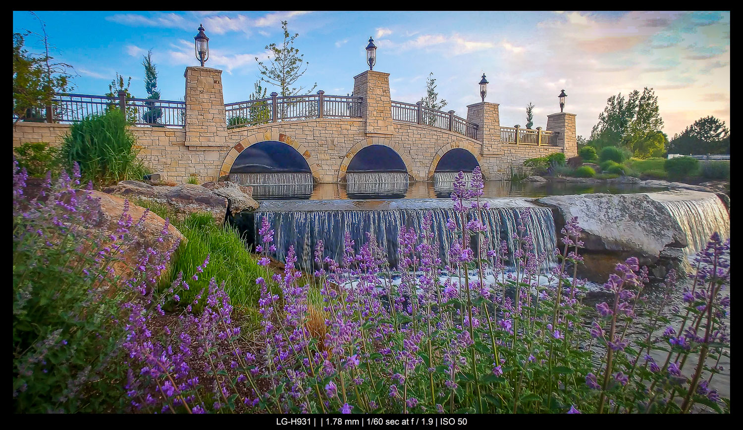 waterfall with flowers smartphone landscape photography