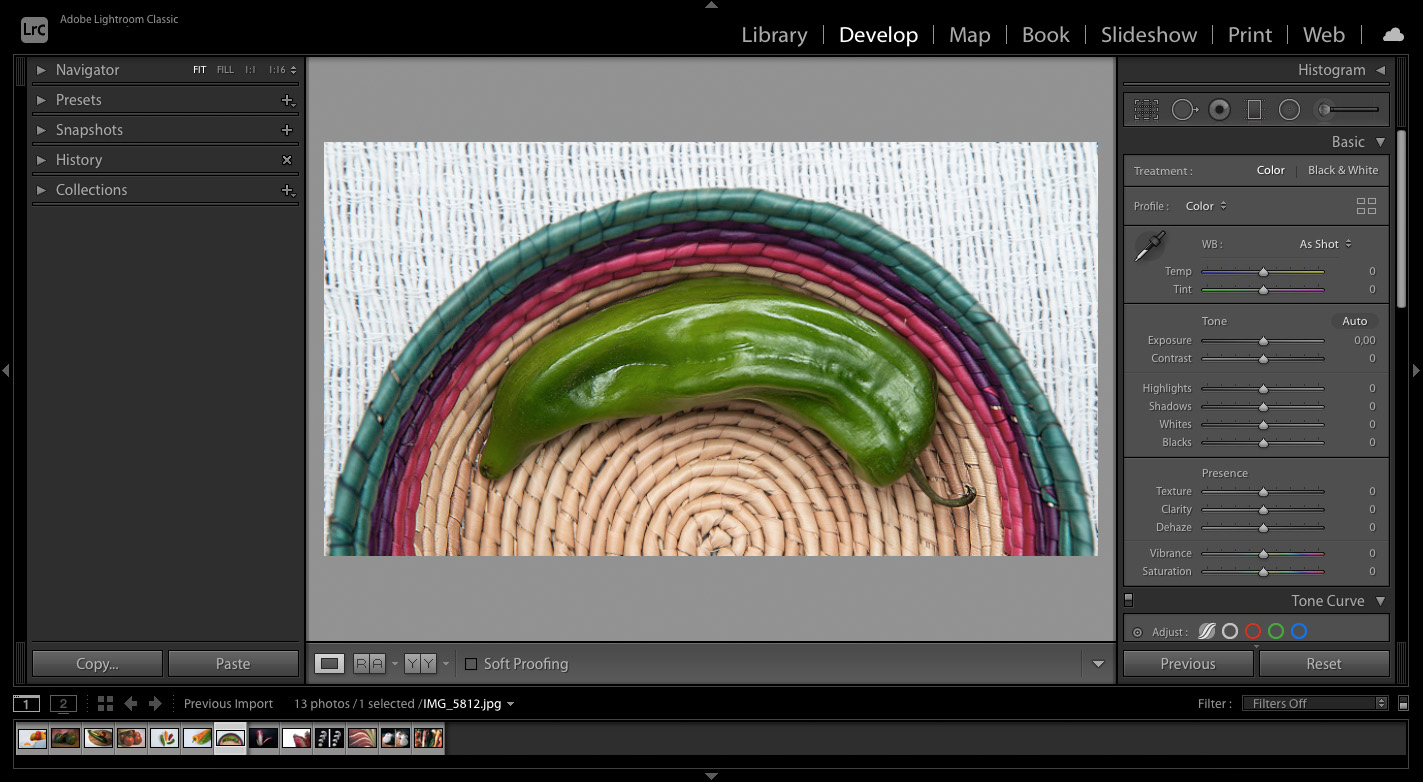 editing a vegetable photo