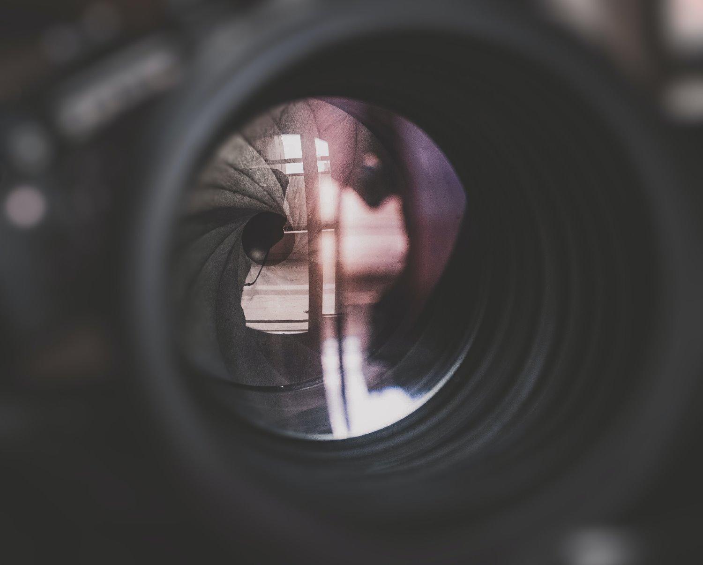 the lens aperture