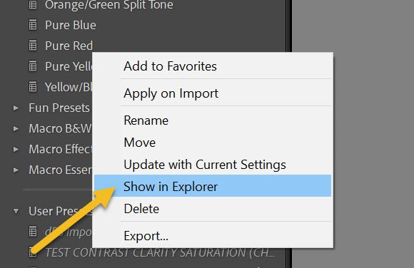 select Show in Explorer