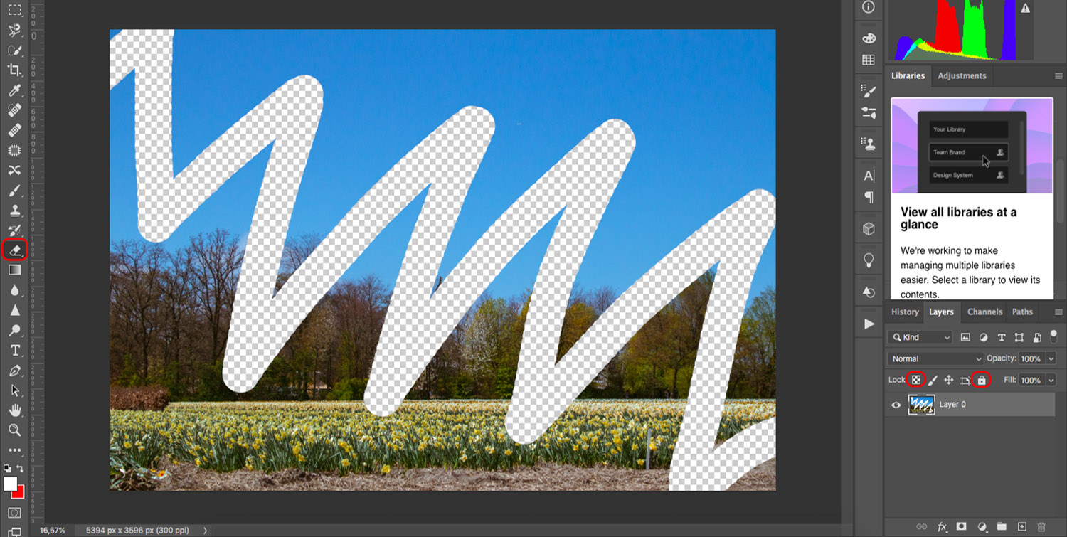 Photoshop Eraser Tool in action