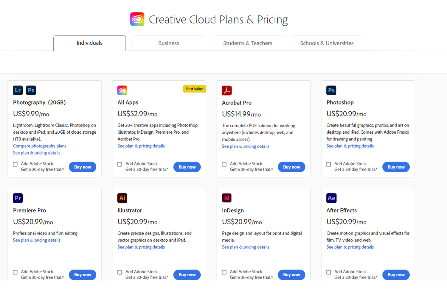 Creative Cloud pricing for Photoshop