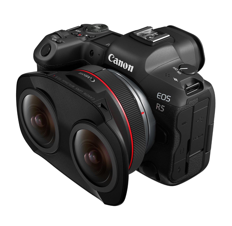 virtual reality lens mounted to a Canon EOS R5