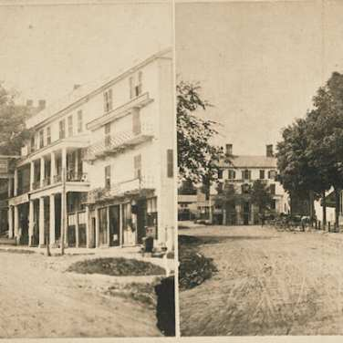 "Lovell, John L., 1825-1903, ""Business blocks and American House Hotel in Amherst,"" Digital Amherst, accessed July 12, 2017, http://www.digitalamherst.org/items/show/646."